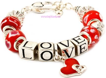 Beaded LOVE Charm Bracelet