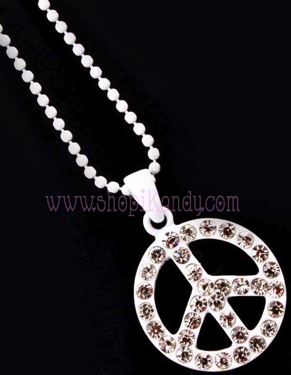 Peace Symbol Bling Charm Necklace