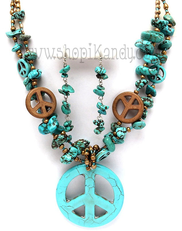 Peace Sign Bead Necklace Set