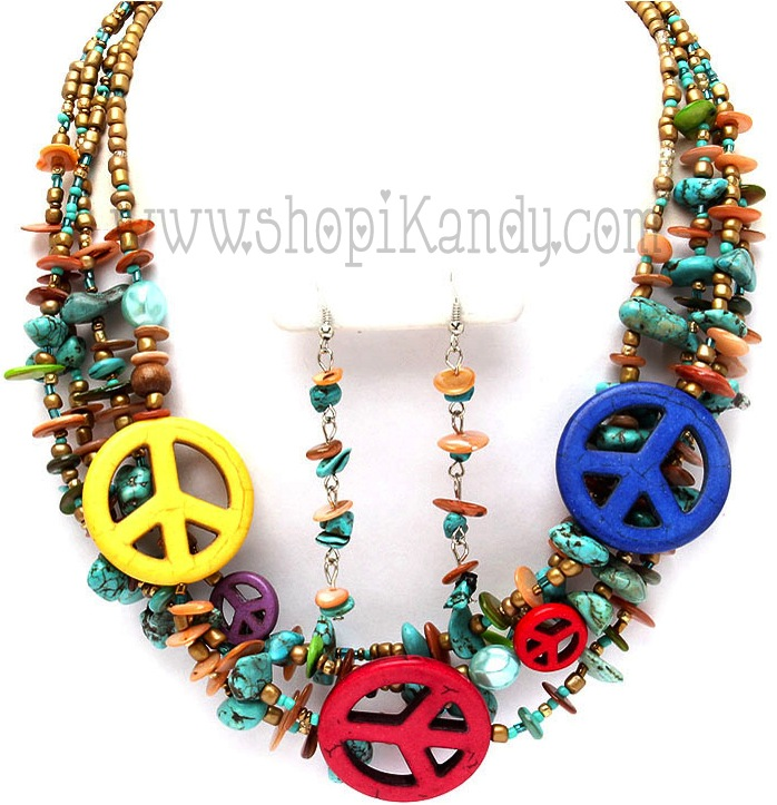 Three Peace Signs Bead Necklace Set