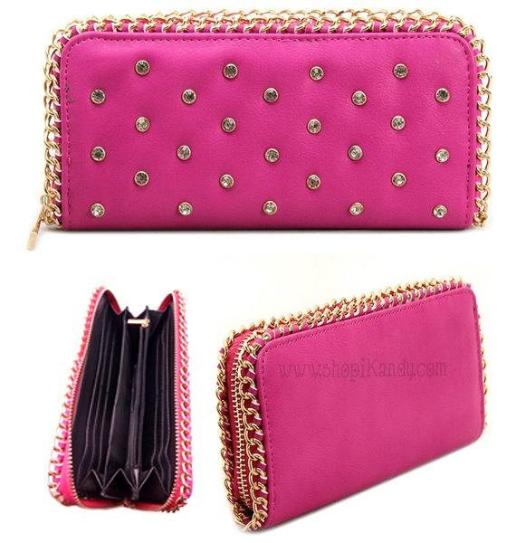 Pink Chain Studded Zipper Wallet