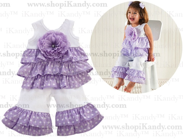 Purple Ruffle Pant Set by Mud Pie
