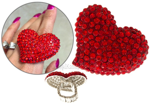 Lovely Red Heart Bling Ring