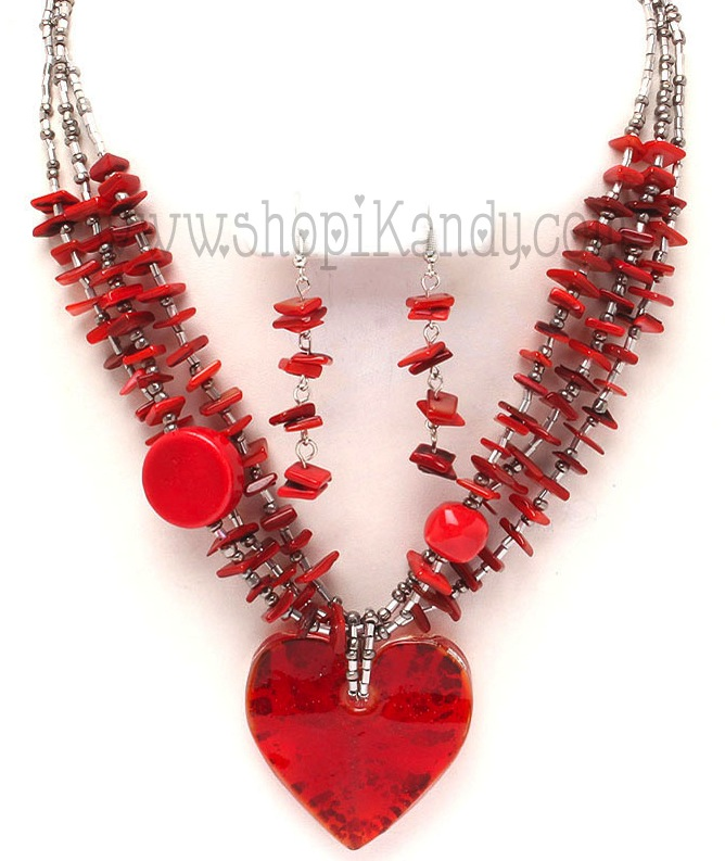 Heart Glass Bead Necklace Set