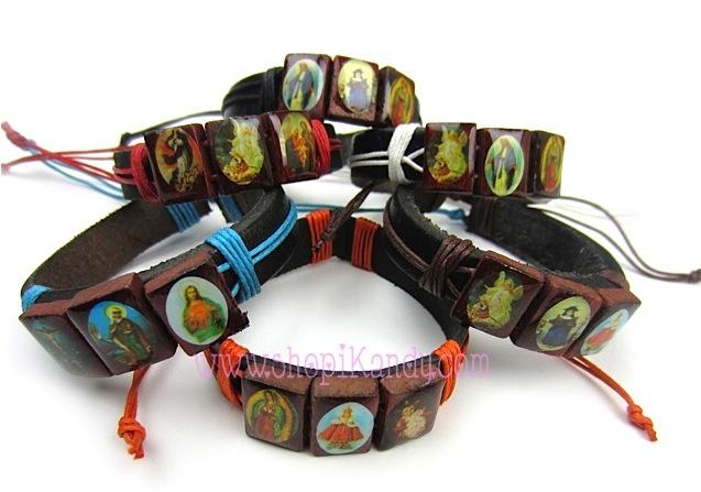 Religious Multi Saints Leather Bracelets