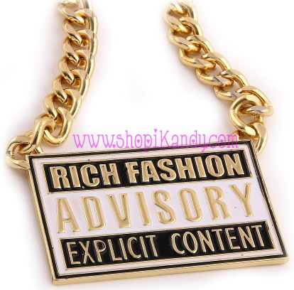 Rich Fashion Advisory Explicit Content Necklace