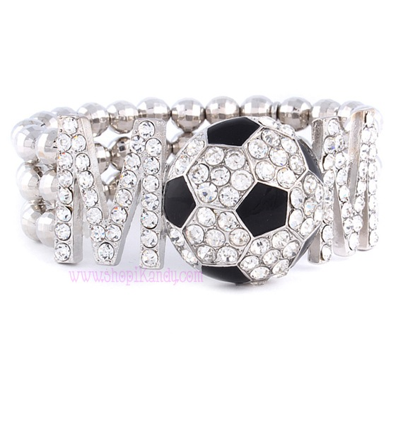 SOCCER MOM Beaded Sports Bracelet