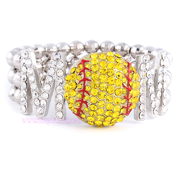 SOFTBALL MOM Beaded Sports Bracelet