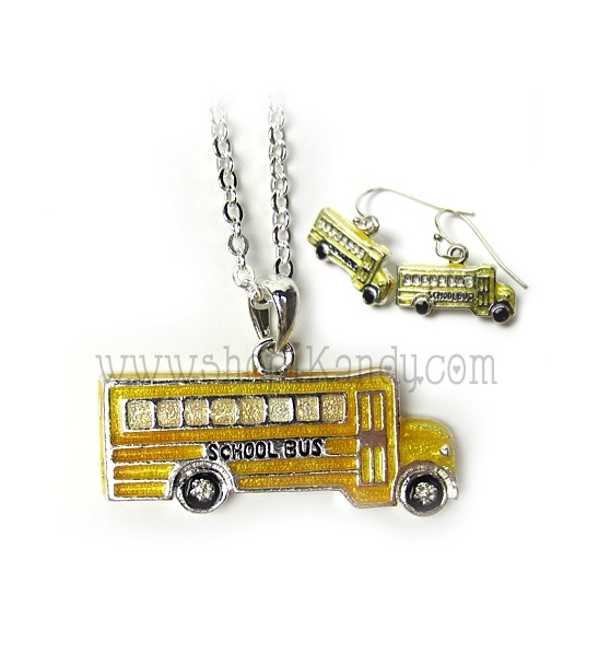 School Bus Necklace & Earrings Set