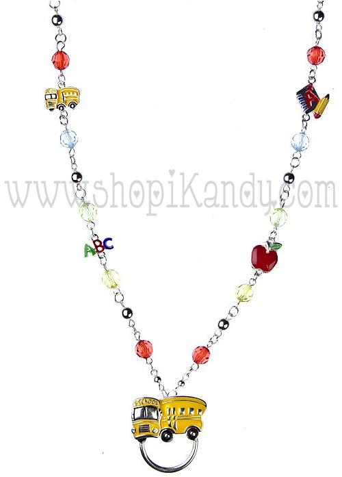 School Bus ID & Glasses Holder Necklace