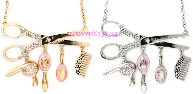 Hair Stylist Scissors Charm Necklace
