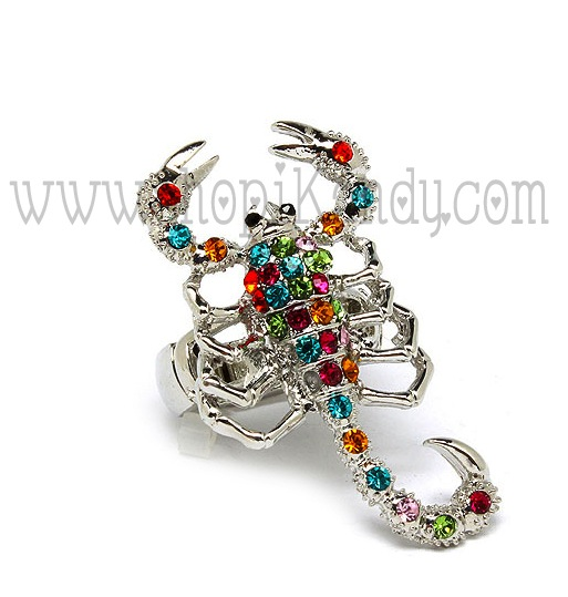 Multi Colored Crystal Scorpion Ring