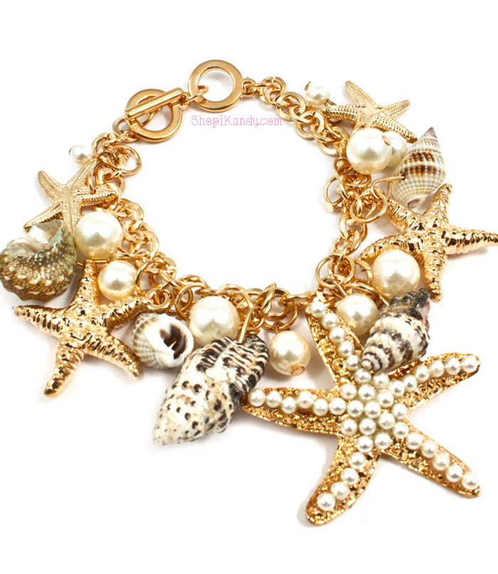 Sea Shells & Starfish Charm Bracelet