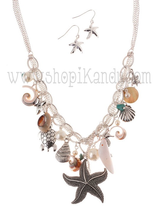 Seashell Charm Necklace Set