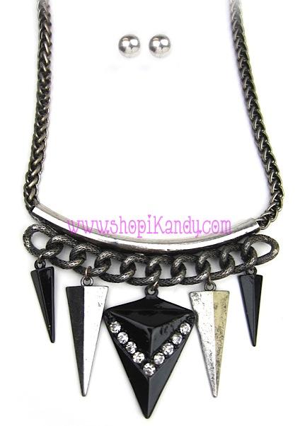 Single Tube Dangling Arrow Heads Necklace & Earring Set