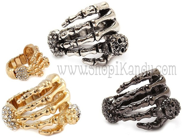 Skeleton Hand & Skull Ring