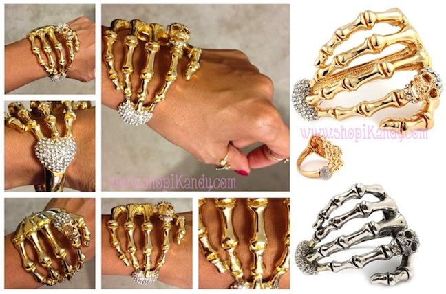 Skeleton Hand w/Heart Bracelet