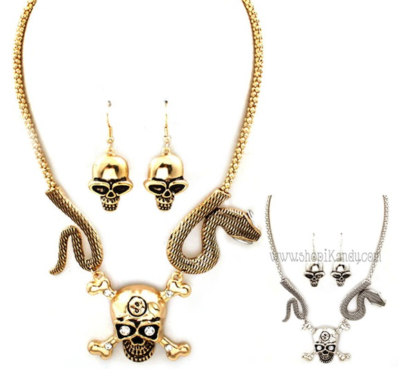 Skull & Snake Necklace Set