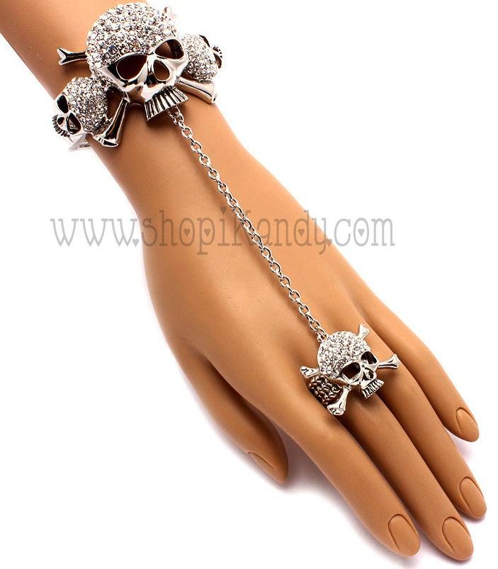 Rhinestone Skull & Crossbones Ringlet (Bracelet w/Ring)
