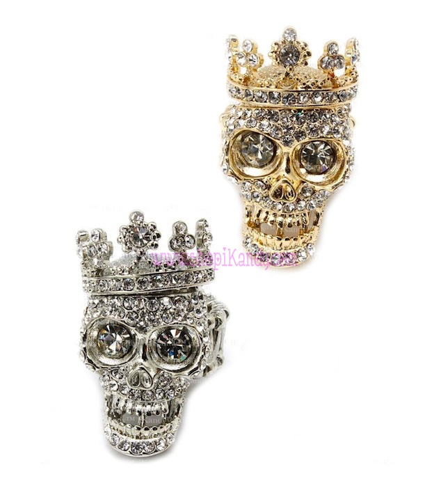 Bling Skull Crown Ring