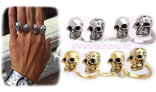 Skull Knuckle Triple Ring
