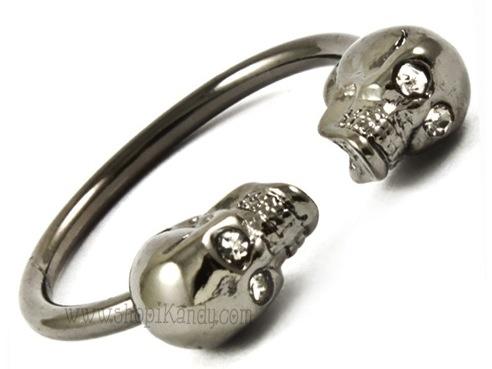 Double Skull Open Ring