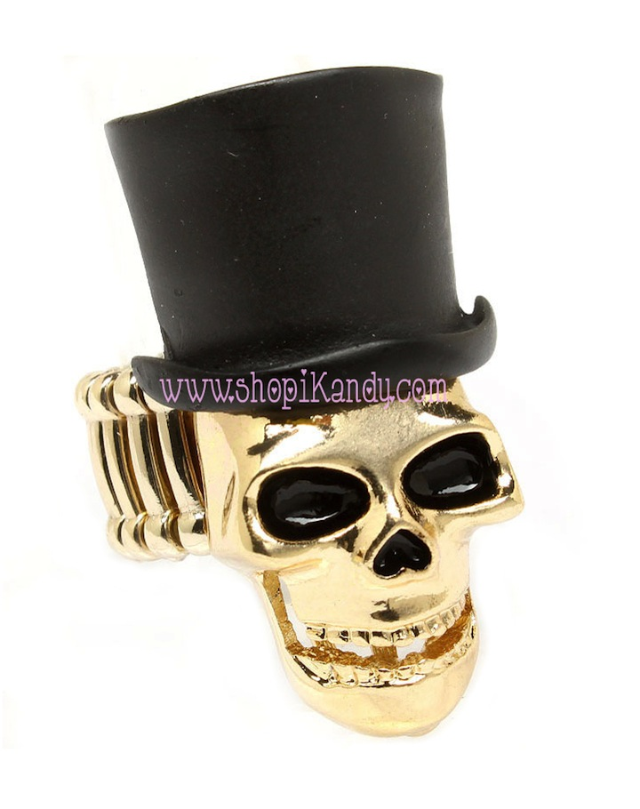 Skull Top Hat Ring