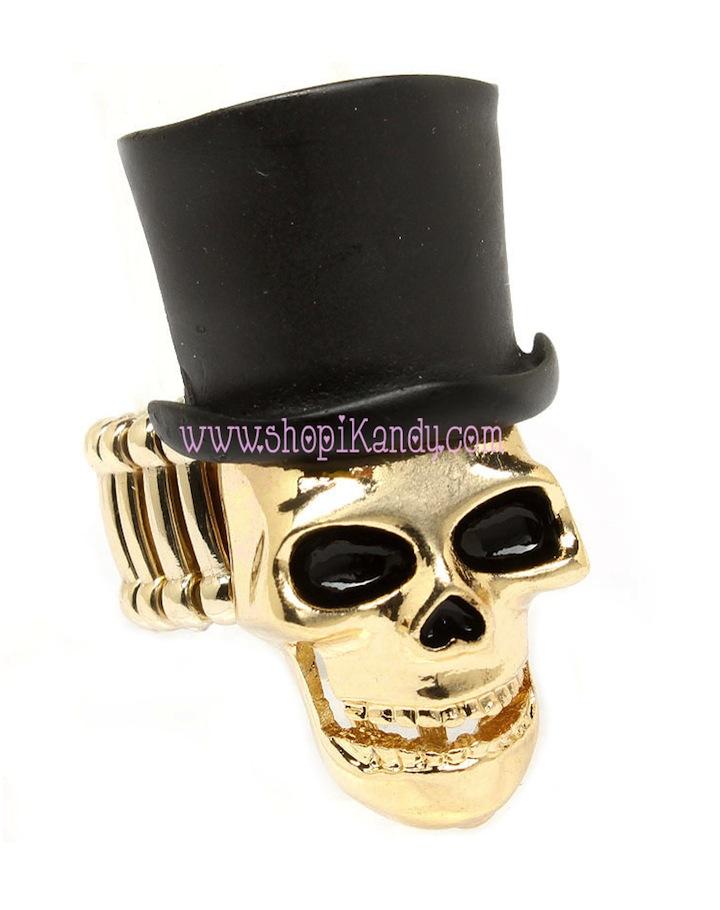 Skull Top Hat Ring