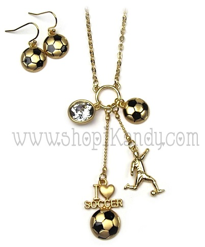 Soccer Charm Sports Necklace Set