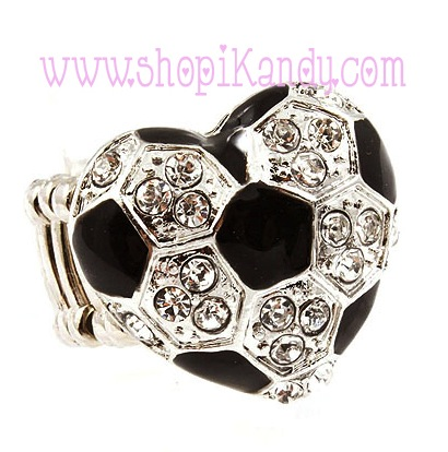 Soccer Ball Heart Bling Sports Ring