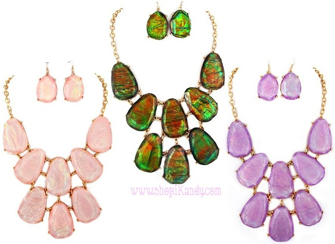 Frosted Large Multi-Stone Necklace & Earring Set