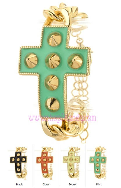 Studded Spiked Cross Bracelet