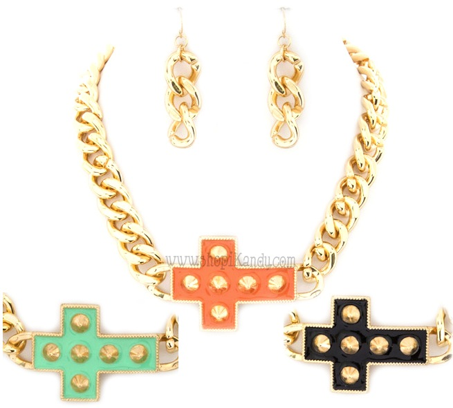 Spike Cross Chain Necklace & Earring Set