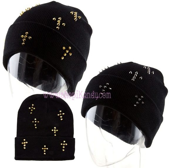 Spike Studded Cross Shape Beanie