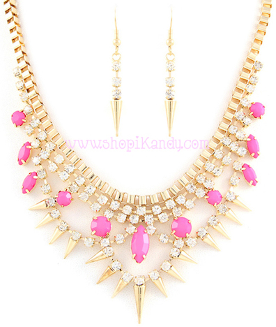 Spikes Crystal Necklace & Earring Set