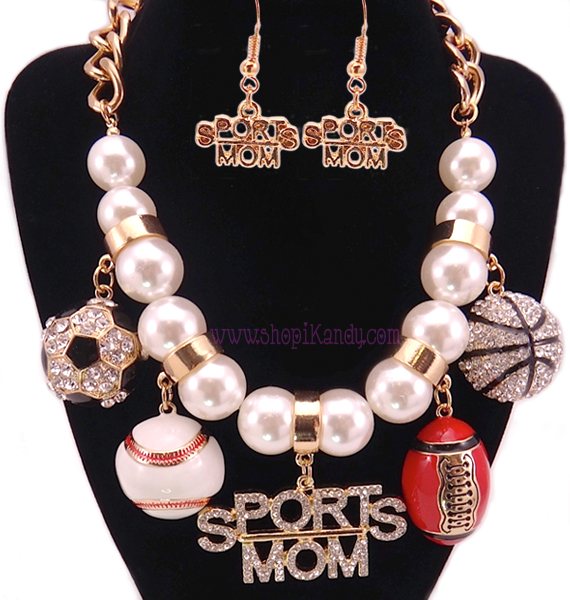 Deluxe SPORTS MOM Bling Charm Necklace Set