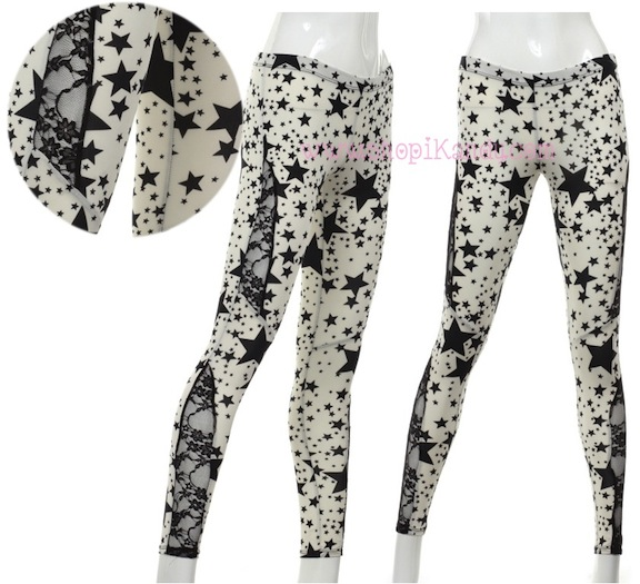Star Pattern Leggings w/Lace Cutouts