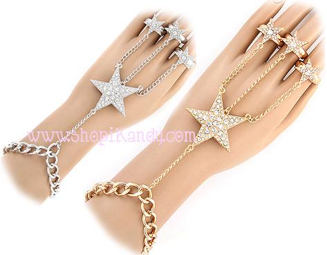 Crystal Star Ringlet (Bracelet w/3 rings)