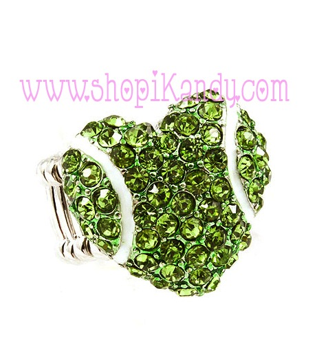 Tennis Heart Bling Sports Ring