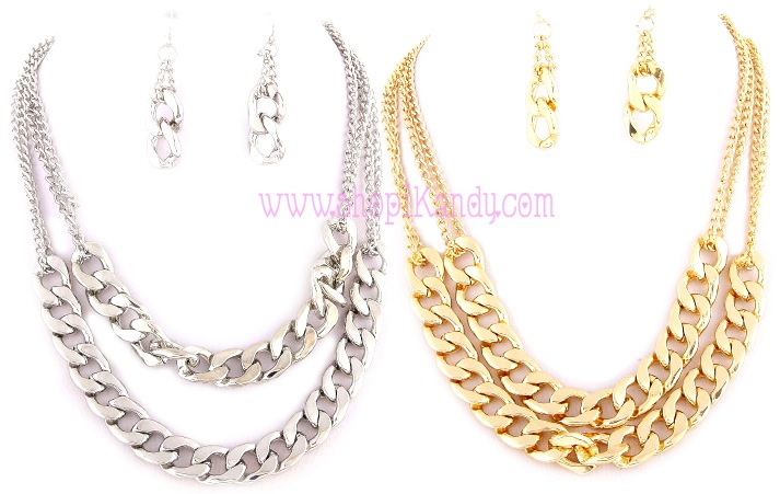 Thick Double Layered Chain & Earring Set
