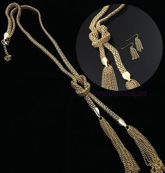 Thick Mesh Knot Tassel Necklace Set