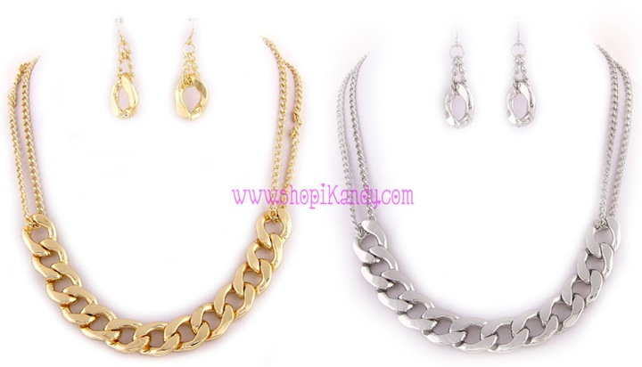 Thick Single Layer Chain Necklace & Earring Set