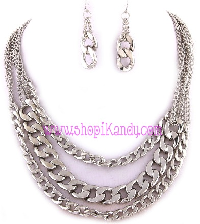 Thick Three Layered Chain Necklace & Earring Set