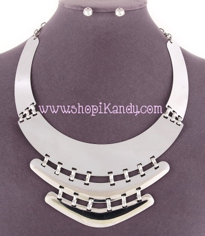 Three Layer Bib Necklace & Earring Set