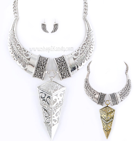 Tribal Statement Arrow Necklace Set