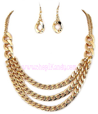 Triple Layered Chain Necklace & Earring Set