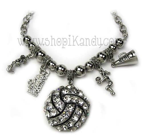 Chunky Bling Volleyball Charm Sports Necklace