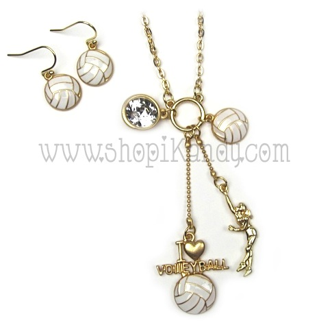 Volleyball Charm Sports Necklace Set