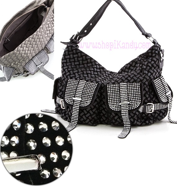 Weaved Crystal Embellished Handbag