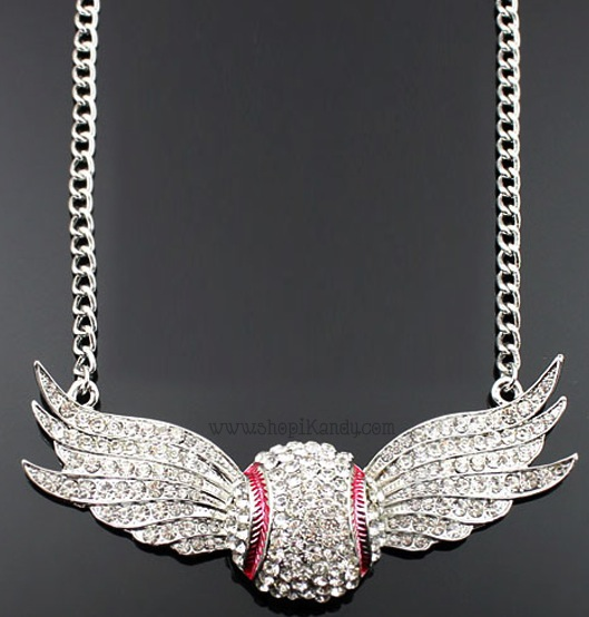 Crystal Wings Baseball Sports Necklace